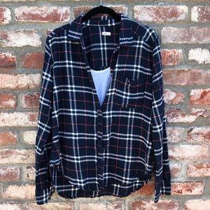 Hollister plaid Navy blue flannel button down